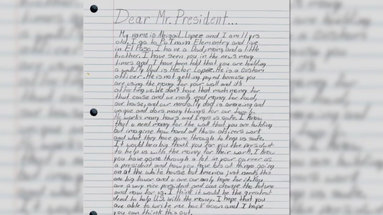 11-year-old explains effects of government shutdown in letter to Trump