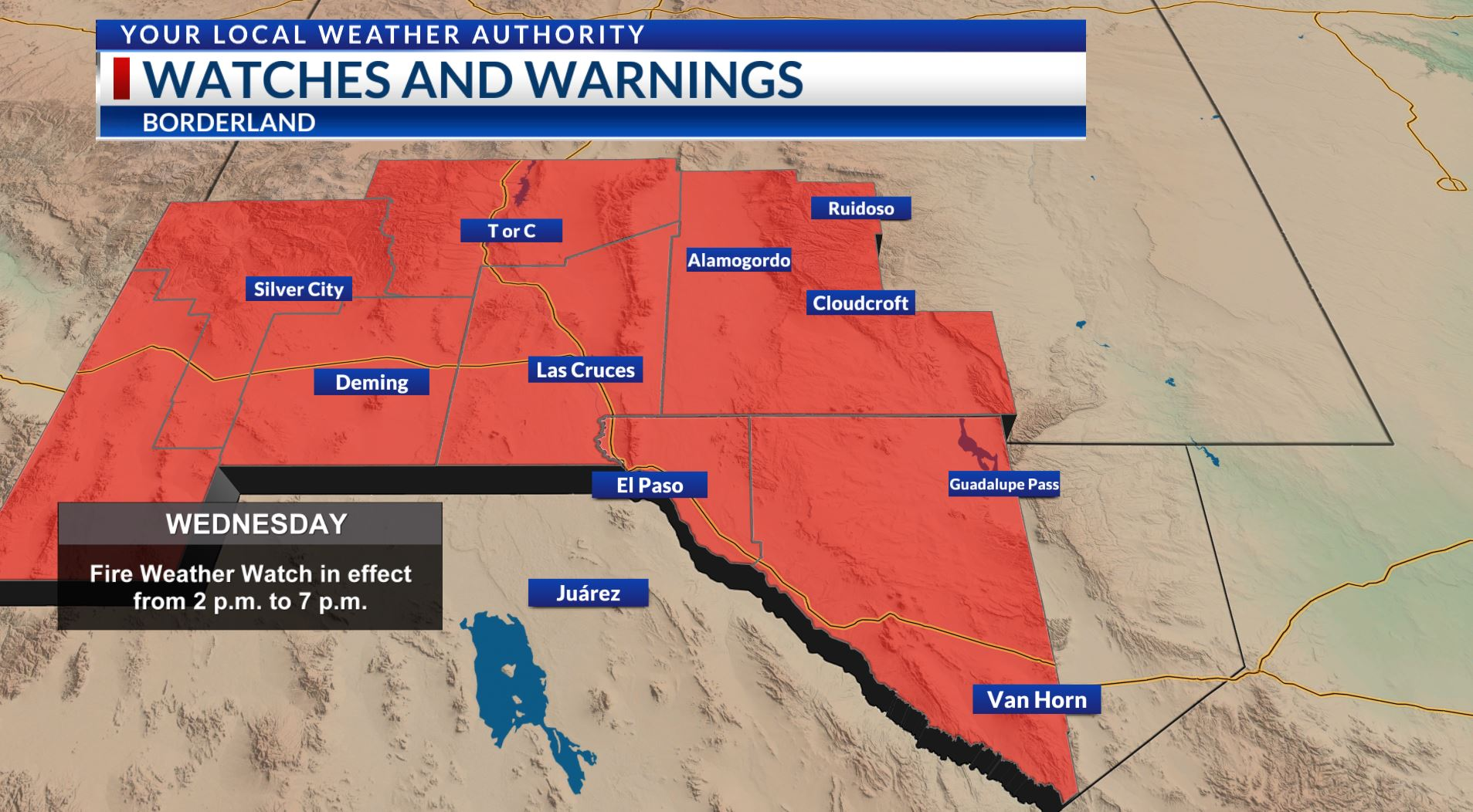 Fire Weather Watch issued for the Borderland