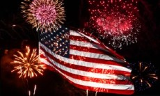 The American Flag with fireworks display.
