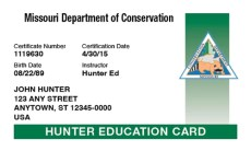 MDC Hunter Education Card