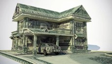 House and car made of money