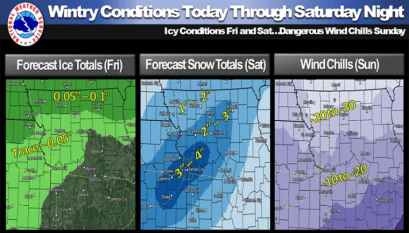 Winter Weather Advisory for northern Missouri extended to