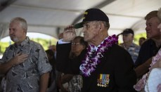 Former U.S. Navy Petty Officer 1st Class Art Albert salutes during the 72nd Anniversary of the End of World War II ceremony aboard the USS Battleship Missouri Memorial, Pearl Harbor, Hawaii, Sep. 2, 2017.