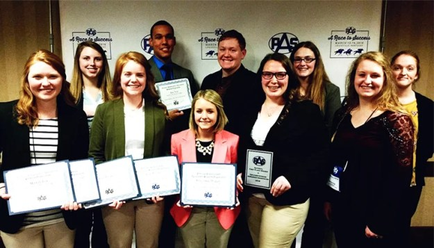 Ten agriculture students from NCMC recently participated in the National PAS Conference. Pictured is (L-R): Front: Mariah Fox, Ariel Propes, Shambree Hagan, Jamee Scearce, Breanna Chambers. (L-R): Back: Katelyn Galloway, Alex Neal, Colton Hargrave, Molly Norman, Chanda Woodring
