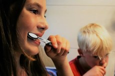 Children (Kids) Brushing Teeth