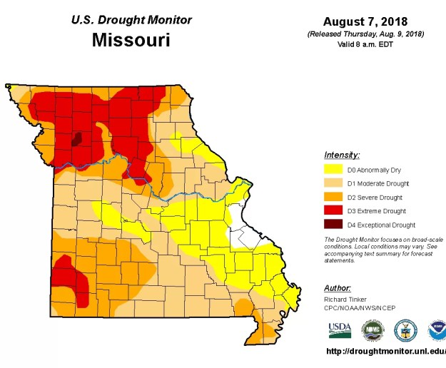 August 7, 2018 drought map