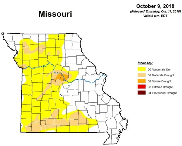 Missouri Drought Map Thursday, October 11, 2018