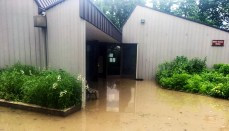 Flooded Visitor Center at Swan Lake Wildlife Refuge