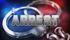 Arrest graphic with handcuffs