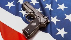 Gun On American Flag (shooting) (Mass Shooting) (Violence)