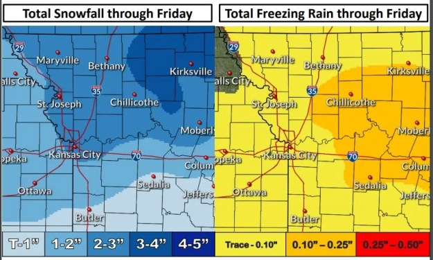 snow rain totals through Friday 1-17-2020