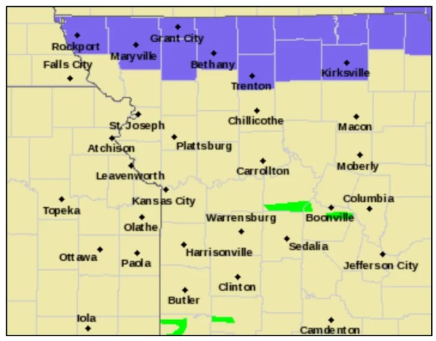 Winter Weather Advisory map outline