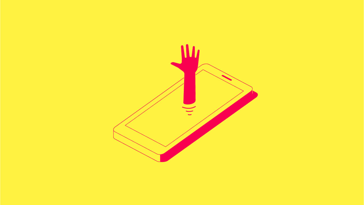 Hand Coming Out of Phone