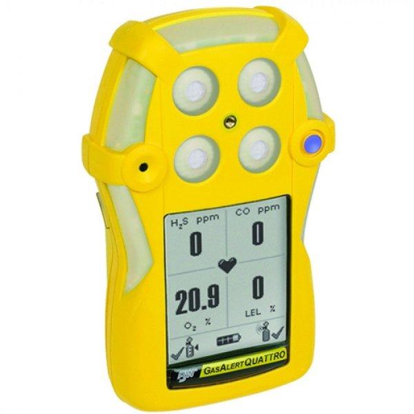 BW Technologies GasAlertQuattro [QT-000M-R-Y-NA] Single Gas Detector, Rechargeable Battery, Carbon Monoxide (CO)