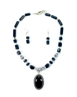 Original Black Stone Necklace Plus Ear Ring Set