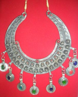 Double Line Tack Moon Necklace