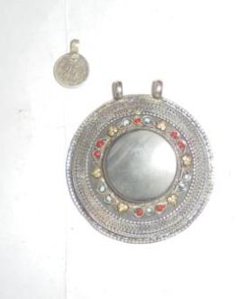 Round Silver Tribal Pendant