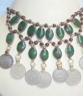 Crystal Malachite Stone & Coins Necklace