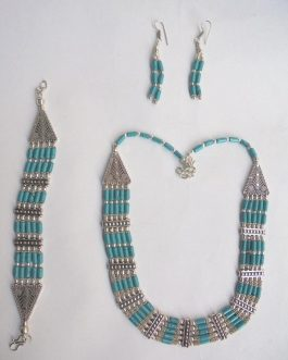Turquoise Necklace Set (Necklace+Bracelet+Ear Ring)-IN