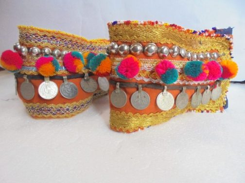 Adjustable Boot Belt Pair With Flower Beads