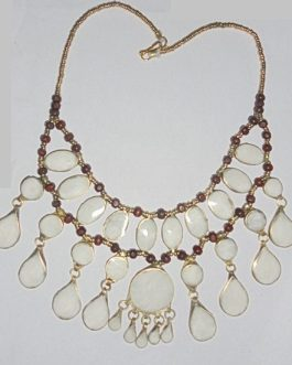 3 Line White Stone Necklace