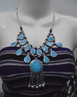 Turquoise Stone & Metal Bells Necklace