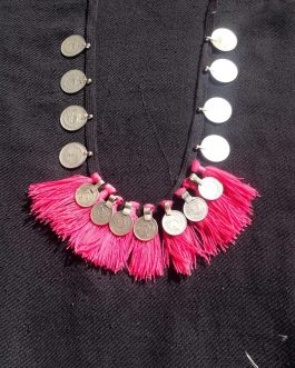 Stylish Necklace with Coins & Pink Cord