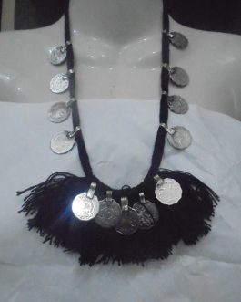 Stylish Necklace with Coins & Black Cord