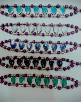 Wholesale Multi Stone Leaf Shape Bracelet