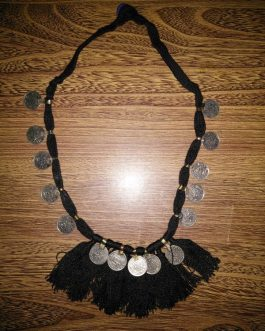 Black Thread & Coins Necklace