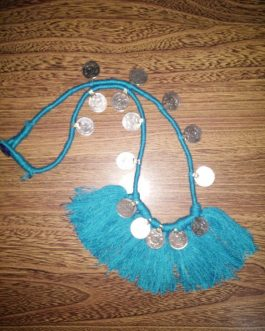 Turquoise Cotton Thread & Coins Necklace