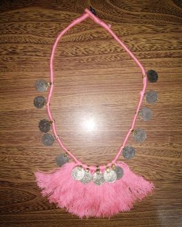 Pink Cotton Thread & Coins Necklace
