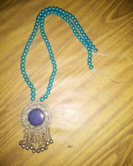 Lapiz Pendant with  Semi Turquoise Beads Necklace