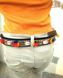 Tribal Embroidered Pompom Shell Jeans Belt