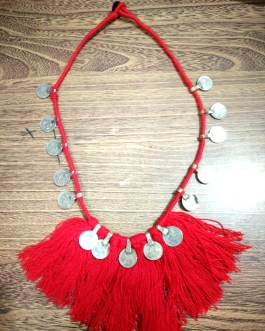 Red Cotton Thread & Coins Necklace