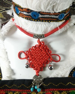 Chokar of Green & Red Cord With Pendant