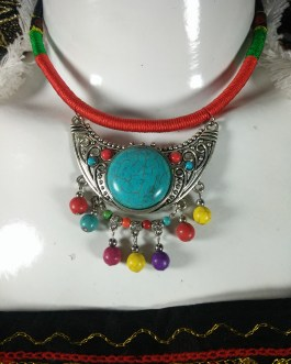 Chokar of Green & Red Cord With Pendant-6