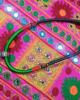 Chokar of Green & Red Cord With Pendant-4