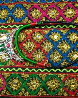 Chokar of Green & Red Cord With Pendant-5