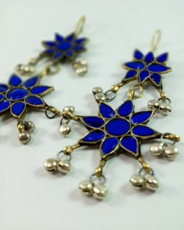 Blue Flower Ear Ring