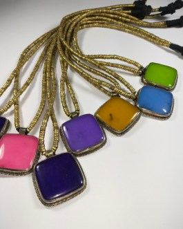 Synthetic Multi Colour Stone Necklace-3