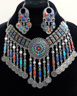 Multi Beads Necklace Set With Ear Ring-2
