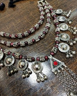 Silver Beads Three Layer Tribal Necklace