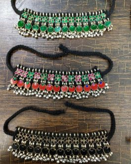 Multi Crystal Beads and Bells Choker