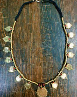 New Kuchi Golden Leaf with Red Stone Necklace