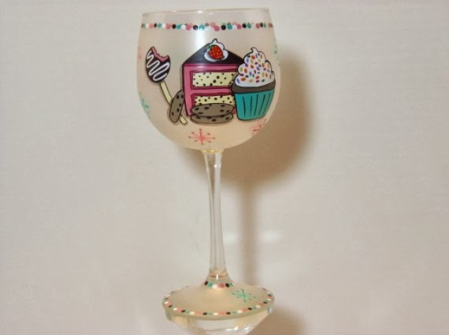 cake and cupcake painted wine glass