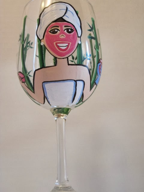 spa themed wine glass