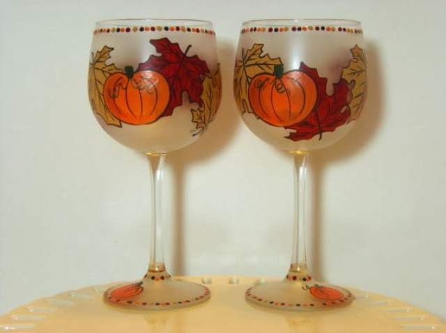 autumn leaves and pumpkin painted wine glasses