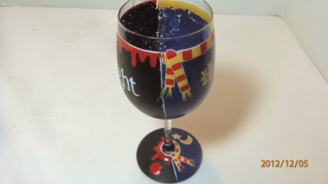 twilight and harry potter wine glass