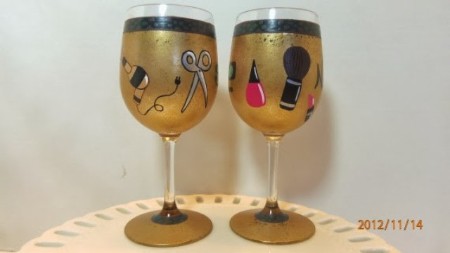 beautician and make up artist wine glasses
